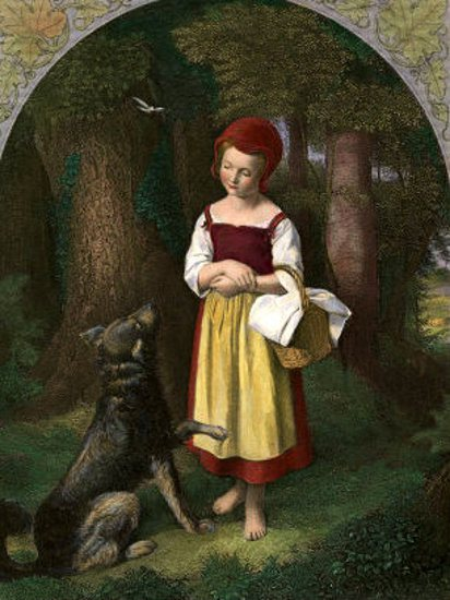 Illustration of Red riding hood being fooled by the wolf for the article, covert emotional manipulation