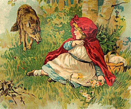 Red riding hood being fooled by cored riding hood approachedert emotional manipulation