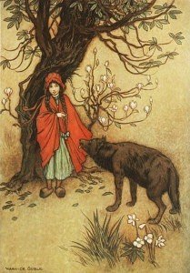 "wolf approaching red riding hood, to illustrate the post titled, ""what is a psychopath?"""