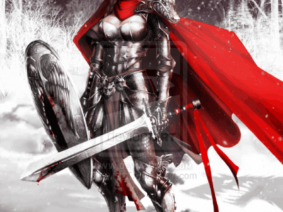 Red riding hood with sword and shield