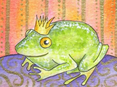 Illustration of frog wearing a crown -- the frog prince