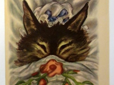 vintage illustration of the wolf pretending to be grandma, hiding under the covers